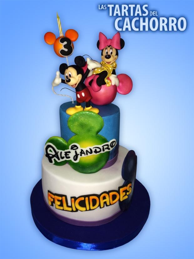 tarta cumpleaños Mickey y Minnie fondant